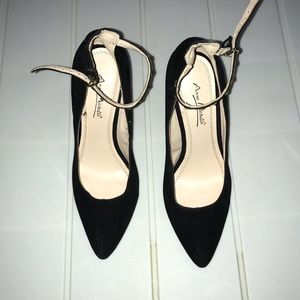 Anne Michelle Black Suede Stilettos